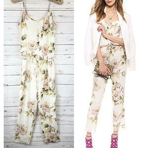 Haute Hippie silk Drawstring Floral jumpsuit